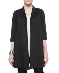 Eileen Fisher - Black Polished Ramie Long Jacket - Lyst