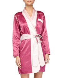Louis At Home - Purple Riviera Satin Short Robe - Lyst