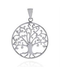 Aeravida | Metallic Cosmic Swirl Tree Of Life Symbol Sterling Silver Pendant | Lyst