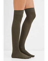 Forever 21 | Green Ribbed Over-the-knee Socks | Lyst