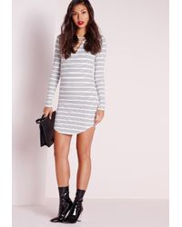 Missguided | Black Curve Hem Lace Up Front Bodycon Dress White Stripe | Lyst