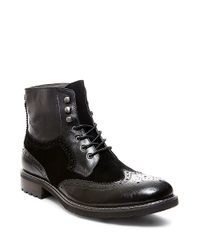 Steve Madden | Black Occupie Leather Lace-up Boots for Men | Lyst
