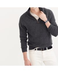 J.Crew - Gray Italian Cashmere Half-zip Sweater for Men - Lyst