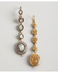 Amrapali - Metallic Gold and Sliced Diamond Tiered Drop Earrings - Lyst