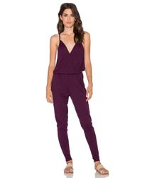 Bobi - Purple Modal Jersey Wrap Front Jumpsuit - Lyst