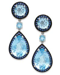 Macy's | Blue Topaz (18 Ct. T.w.) And Swarovski Zirconia Accent Earrings In Sterling Silver | Lyst