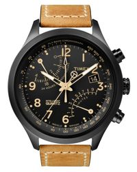 Timex - Brown Watch, Men's Intelligent Quartz Fly-back Chrono Tan Leather Strap 43mm T2n700za for Men - Lyst