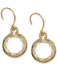 Anne Klein | Metallic Gold-tone Crystal Drop Earrings | Lyst