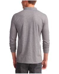 BOSS Orange - Gray Long-sleeved Polo Shirt 'patcherman' In Cotton for Men - Lyst