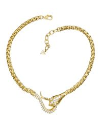 Guess | Metallic Original Sin Gold Plated Serpent Jeweled Necklace | Lyst