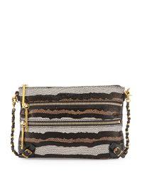 Elliott Lucca - Brown Messina Snake-Embossed Leather Clutch Bag - Lyst