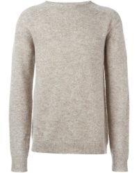 Roberto Collina - Natural Elbow Patch Sweater for Men - Lyst