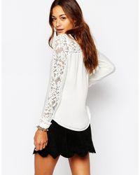Vila - White Lace Sleeve Blouse - Lyst