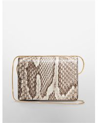 Calvin Klein - Natural Collection Python Card Holder With Snake Chain - Lyst