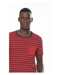 Express - Red Striped Twisted Slub Ringer Pocket Tee for Men - Lyst