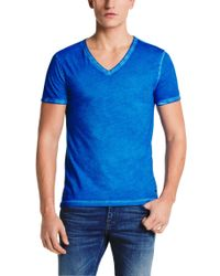 BOSS Orange | Blue Used-look T-shirt In Pure Cotton: 'toulouse' for Men | Lyst