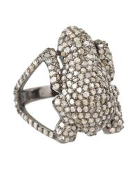 Bavna - Metallic Sterling Silver Ring With Pave Diamonds - Lyst
