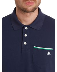Le Coq Sportif | Blue Tricolores Pavot Short Sleeve Polo for Men | Lyst