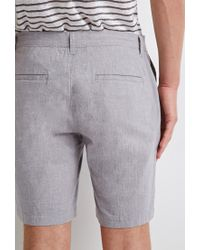 Forever 21 | Gray Linen-blend Chambray Shorts for Men | Lyst