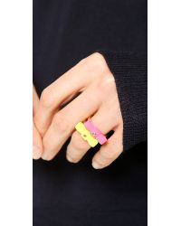 Marc By Marc Jacobs - Pink Bow Tie Ring Safety Yellow - Lyst