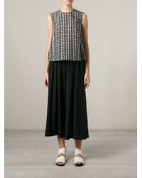 Hache - White Sleeveless Checked Blouse - Lyst