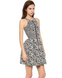 Nicholas - Black Zebra Zip Front Dress - Lyst