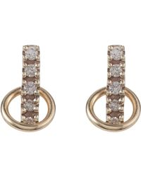 Hirotaka | Metallic Pave Diamond & Gold Small Bar & Hoop Studs | Lyst