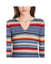 Ralph Lauren - Blue Striped Knit Linen-cotton Top - Lyst