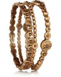 Oscar de la Renta   Metallic Set Of Three Goldplated Bracelets   Lyst