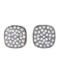 Kevia - Metallic Pave Cushion Earrings - Lyst