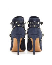Valentino Blue Rockstud Suede Ankle Boots