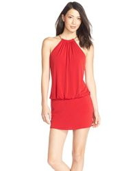 Laundry by Shelli Segal - Red Chain Accent Jersey Blouson Dress - Lyst