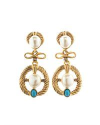 Oscar de la Renta - Metallic Cabochon and Pearl Earrings - Lyst