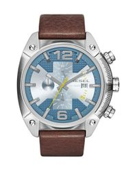 DIESEL | Brown Diesel 'overflow' Chronograph Leather Strap Watch for Men | Lyst