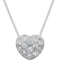 Lord & Taylor - Metallic Silvertone And Crystal Heart Pendant Necklace - Lyst