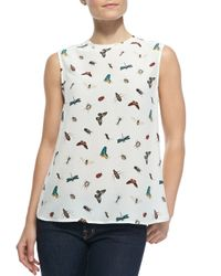 Equipment - White Kyle Sleeveless Nature-Print Blouse - Lyst