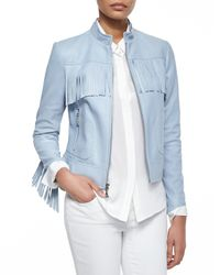 Dawn Levy - Blue Long Sleeve Zip-front Leather Jacket - Lyst