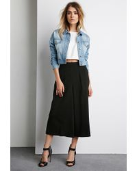 Forever 21 | Blue Cropped Denim Jacket | Lyst