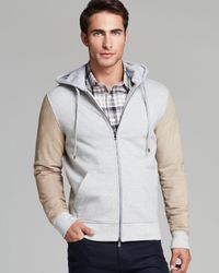 Michael Kors | Gray Suedesleeve Zip Hoodie for Men | Lyst