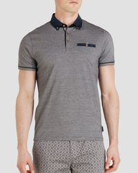 Ted Baker | Blue Trybe Linen Trim Classic Fit Polo for Men | Lyst