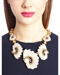 Oscar de la Renta | Metallic Resin Swirl Scalloped Necklace | Lyst