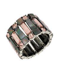 Kenneth Cole - Metallic New York Silvertone Geometric Shell and Crystal Stretch Bracelet - Lyst