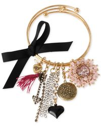 Betsey Johnson - Pink Gold-Tone Multi-Charm Bangle Bracelet Set - Lyst