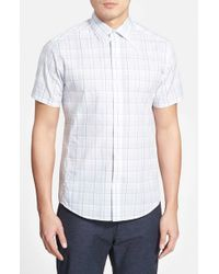 Vince Camuto - Gray Slim Fit Short Sleeve Check Sport Shirt for Men - Lyst