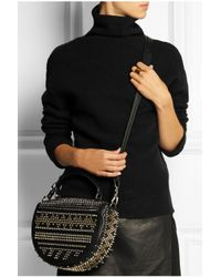 Christian Louboutin - Black Panettone Spiked Textured-Leather Shoulder Bag - Lyst