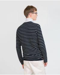 Zara   Blue Striped Sweater for Men   Lyst
