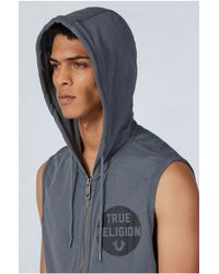 True Religion | Gray Terry Sleeveless Mens Hoodie for Men | Lyst
