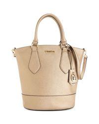 Calvin Klein | Metallic Modena Saffiano Bucket Bag | Lyst