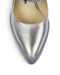 Prada - Blue Metallic Leather Rubber-dipped Mary Jane Pumps - Lyst