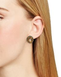 Sorrelli | Metallic Crystal Encrusted Oval Stud Earrings | Lyst